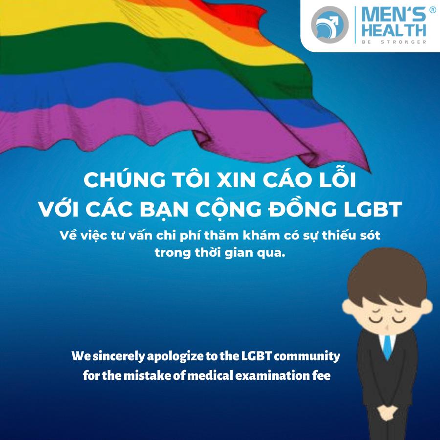 THƯ XIN LỖI KHÁCH HÀNG CỘNG ĐỒNG LGBT LIÊN QUAN ĐẾN CHI PHÍ KHÁM